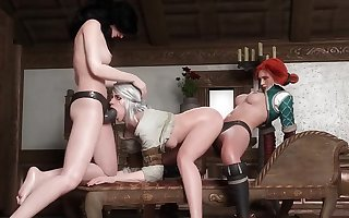 Foursome futa orgy, 3 futa x 1 female