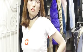 Sexy nurse was tied up and forced to cum - BDSM - 胶带捆绑的小贱奴 - 肛门塞遥控跳蛋+按摩棒刺激鸡巴-强制榨精